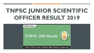TNPSC Junior Scientific Officer Result 2019 for 64 JSO Examination here