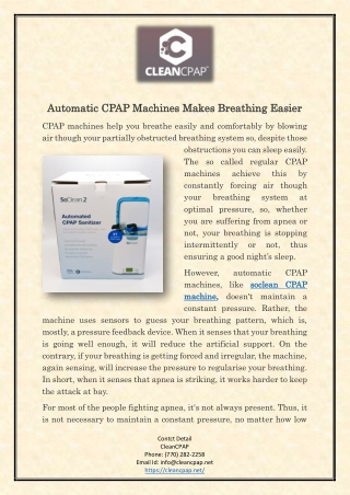 Automatic CPAP Machines Makes Breathing Easier