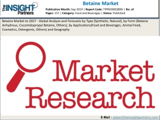 Betaine Market 2019 Size, Key Vendors, Growth Factors, Analysis and Forecast to 2027