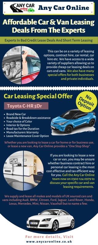 Contract Cars with No Deposit Car Leasing