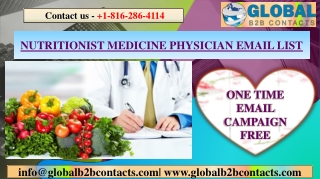 NUTRITIONIST MEDICINE PHYSICIAN EMAIL LIST