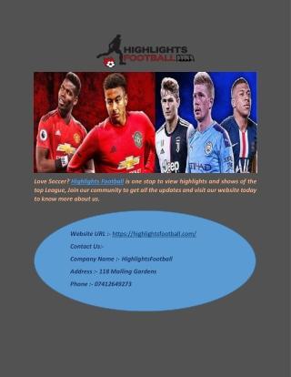 Soccer Highlights at Highlights Football
