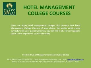 Hotel Management College Courses