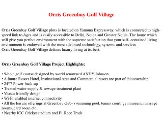 Orris Greenbay Golf Village Call 9999266635