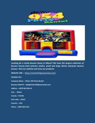 Bounce House Rental - Miami - Mister954partyrental.com