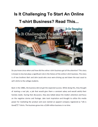 Is It Challenging To Start An Online T-shirt Business? Read This...
