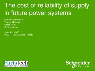 The cost of reliability of supply in future power systems
