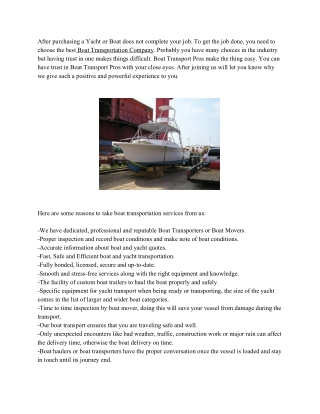 Some Reasons To Choose Boat Transport Pros | Yacht Transport
