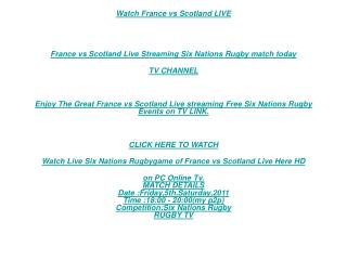 3D Tv:Kick Off France vs Scotland Live STREAM RUGBY Tv Link|