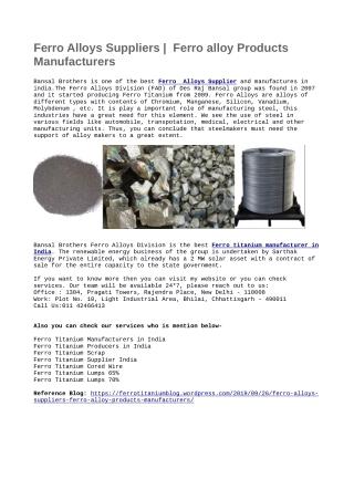 Ferro Alloys Suppliers | Ferro alloy Products Manufacturers