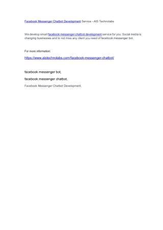 Facebook Messenger Chatbot Development Service - AIS Technolabs
