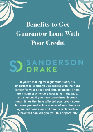 Benefits to get Guarantor Loan with Poor Credit
