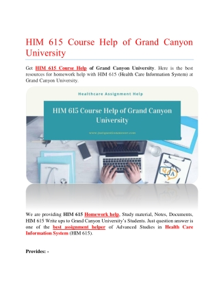 HIM 615 Course Help of Grand Canyon University