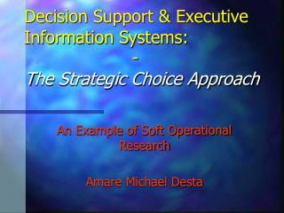Decision Support & Executive Information Systems:                    -                   T he Strategic Choice Appro