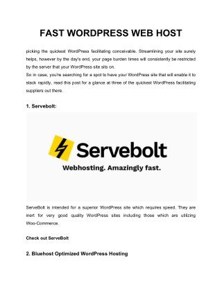 FAST WORDPRESS WEB HOST