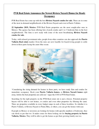 PVR Real Estate Announces the Newest Riviera Nayarit Homes for Ready Occupancy