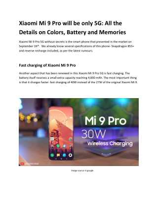 Xiaomi Mi 9 Pro will be only 5G: All the Details on Colors, Battery and Memories
