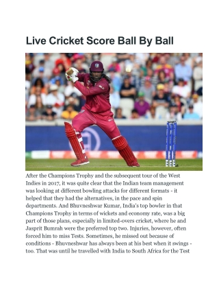 Live Cricket Score Ball By Ball