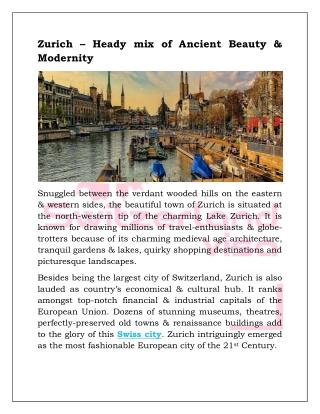 Zurich – Heady mix of Ancient Beauty & Modernity