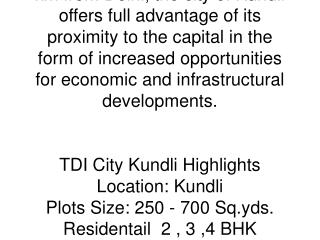 TDI City Kundli!TDI Kundli Sonipat Project (Delhi/NCR, India