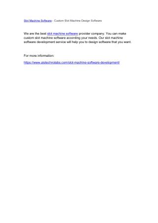 Slot Machine Software - Custom Slot Machine Design Software