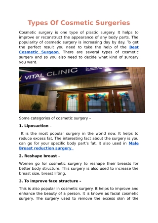 Types Of Cosmetic Surgeries