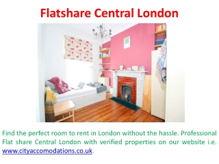 Rental Rooms in Central London