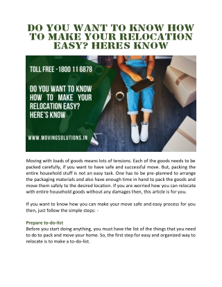 Do You Want to Know How to Make Your Relocation Easy? Here's Know