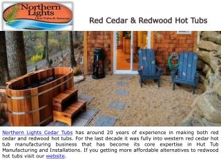 Red Cedar and Redwood Hot Tubs