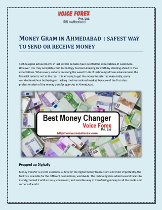 Money Gram in Ahmedabad : safest way to send or receive money