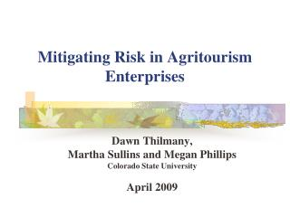 Mitigating Risk in Agritourism Enterprises