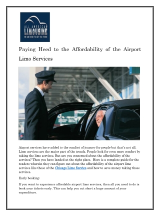 Paying Heed to the Affordability of the Airport Limo Services