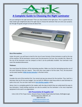 A Complete Guide to Choosing the Right Laminator