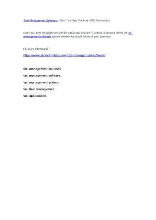 Taxi Management Solutions - Best Taxi App Solution - AIS Technolabs