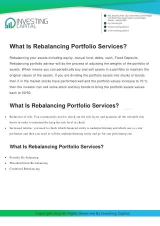 What Is Rebalancing Portfolio Services?