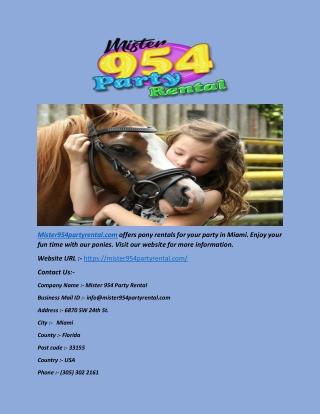 Pony Rentals - Miami - Mister954partyrental.com