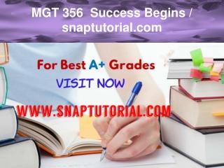 MGT 356 Success Begins / snaptutorial.com