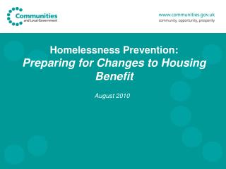 Homelessness Prevention: Preparing for Changes to Housing Benefit