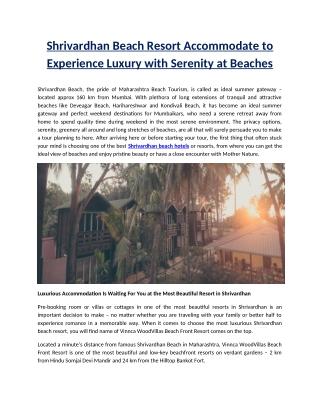 Shrivardhan Beach Resort Accommodate to Experience Luxury with Serenity at Beaches