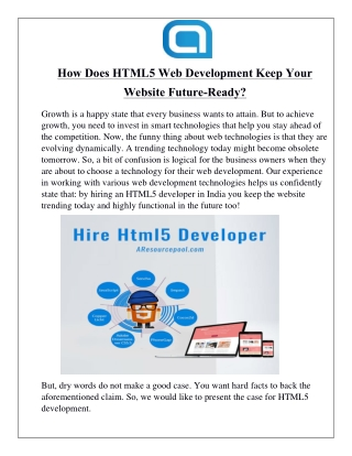 How Does HTML5 Web Development Keep Your Website Future-Ready?