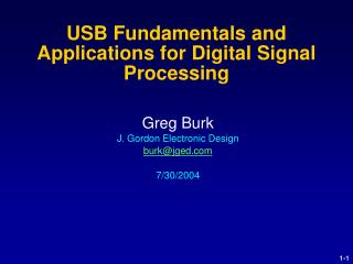USB Fundamentals and Applications for Digital Signal Processing