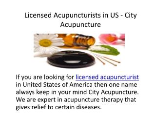 Licensed Acupuncturists in US - City Acupuncture