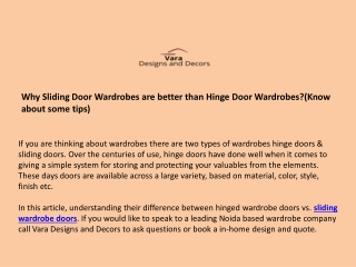 Why Sliding Door Wardrobes are better than Hinge Door Wardrobes? ( Know about some points)
