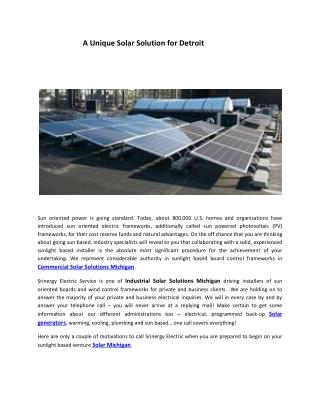 A Unique Solar Solution for Detroit