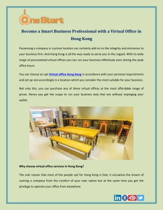 Become a Smart Business Professional with a Virtual Office in Hong Kong