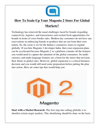 How To Scale-Up Your Magento 2 Store For Global Markets?