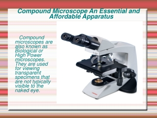 Compound Microscopes An Essential and Affordable Apparatus