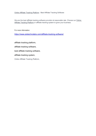 Online Affiliate Tracking Platform - Best Affiliate Tracking Software