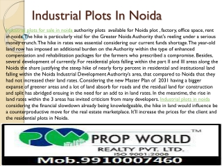 Industrial Plots In Noida