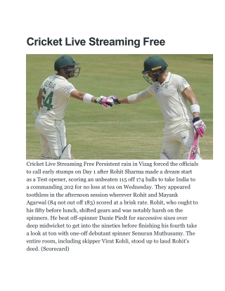 Cricket Live Streaming Free